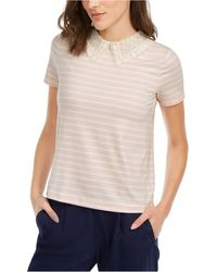 Maison Jules Striped Lace-collar Top, Created For Macy's - Multicolor