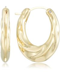 Signature Gold - Tm Diamond Accent Draped Oval Hoop Earrings In 14k Gold Over Resin - Lyst