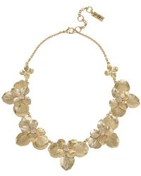 "Jessica Simpson Flower Frontal Necklace, 16"" + 3"" Ext - Metallic"