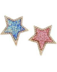 Betsey Johnson - Gold-tone Pavé & Colored Stone Star Mismatch Earrings - Lyst