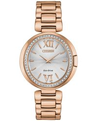 Citizen - Capella Diamond-accent Rose Gold-tone Stainless Steel Bracelet Watch 34mm - Lyst