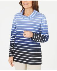 Karen Scott - Ombré Striped Cowlneck Top, Created For Macy's - Lyst