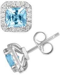 Macy's - Citrine (1-1/2 Ct. T.w.) & Diamond (1/5 Ct. T.w.) Stud Earrings In 14k White Gold (also Available In Aquamarine) - Lyst