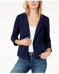 Maison Jules 3/4 Sleeve Knit Blazer, Created For Macy's - Blue