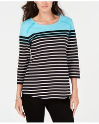 Karen Scott - Colorblocked Striped Top, Created For Macy's - Lyst