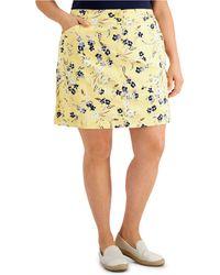 Karen Scott Plus Size Wildflower Breeze Skort, Created For Macy's - Yellow