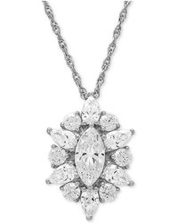 """Macy's - Cubic Zirconia Cluster 18"""" Pendant Necklace In Sterling Silver - Lyst"""