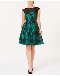 Julia Jordan - Mesh & Jacquard A-line Dress - Lyst