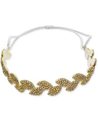 INC International Concepts Inc Gold-tone Crystal Leaf Stretch Headband, Created For Macy's - Metallic