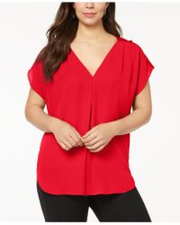 INC International Concepts - Plus Size Mixed-media Dolman-sleeve Top - Lyst