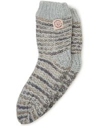 Dearfoams Space-dye Textured Knit Flurry Slipper Sock, Online Only - Gray