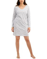 Charter Club Long-sleeve Cotton Nightgown, Created For Macy's - Gray