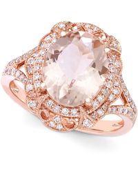 Effy Collection Morganite (3-1/8 Ct. T.w.) And Diamond (1/4 Ct. T.w.) Oval Ring In 14k Rose Gold - Multicolour