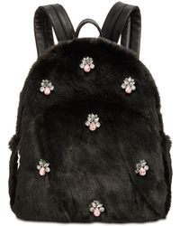 Betsey Johnson - Bejeweled Faux-fur Backpack - Lyst