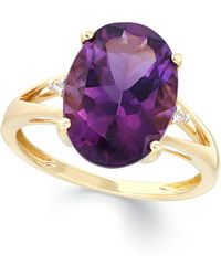 Macy's | Amethyst (5 Ct. T.w.) And Diamond Accent Ring In 14k Gold | Lyst