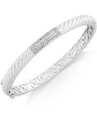 Macy's | Diamond Pavé Bar Twist Bangle Bracelet (1/3 Ct. T.w.) In Sterling Silver | Lyst