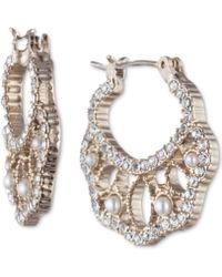 "Marchesa - Gold-tone Small Crystal & Imitation Pearl Filigree Hoop Earrings 4/5"" - Lyst"