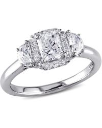 Macy's - Certified Diamond (1 Ct. T.w.) Radiant-shape 3-stone Halo Engagement Ring In 14k White Gold - Lyst