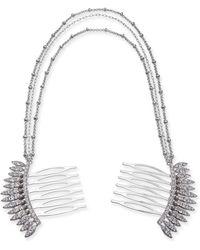 INC International Concepts I.n.c. Silver-tone Crystal Comb Triple-layer Drape Hair Clip, Created For Macy's - Metallic
