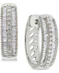 Macy's - Diamond Hoop Earrings (1/2 Ct. T.w.) In Sterling Silver - Lyst