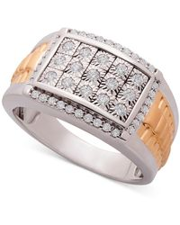 Macy's Diamond Cluster Two-tone Ring (1/2 Ct. T.w.) In Sterling Silver & 14k Gold-plate - Metallic