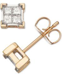 Macy's - Diamond Quad Cluster Stud Earrings (1/3 Ct. T.w.) In 14k Gold - Lyst