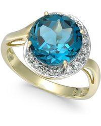 Macy's - Blue Topaz (4-3/4 Ct. T.w.) & Diamond (1/6 Ct. T.w.) Ring In 14k Gold - Lyst