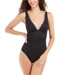Kate Spade Scalloped V-neck One-piece Swimsuit - Black