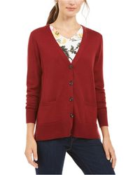 Charter Club Merino Wool V-neck Cardigan, Created For Macy's - Red
