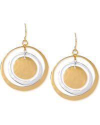 Robert Lee Morris - Earrings, Two-tone Hammered Circle Orbital Earrings - Lyst