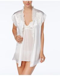 Linea Donatella - Chemise Wrap And Chantilly Chemise Wrap And Thong Three Piece Set - Lyst