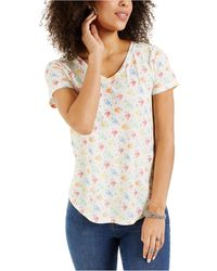Style & Co. Printed T-shirt, Created For Macy's - White