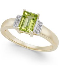 Macy's - Peridot (1 Ct. T.w.) & Diamond Accent Ring In 14k Gold - Lyst