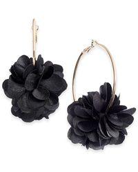 INC International Concepts Inc Fabric Flower Hoop Earrings, Created For Macy's - Black