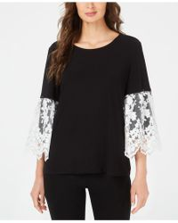 4a7bf29d2d0 Lyst - Alfani Plus Size Lace Bell-sleeve Top in Black
