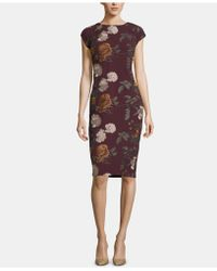 55a72cc2 Eci Off The Shoulder Velvet Foil Sheath (black/pink) Dress in Black - Lyst