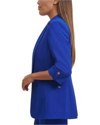 Calvin Klein Petite Roll-sleeve Jacket - Blue