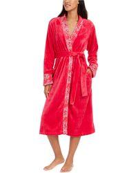 Sesoire French Fleece Long Wrap Robe - Red