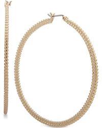 Nine West - Large Textured Hoop Earrings - Lyst