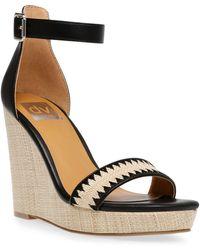 DV by Dolce Vita Harla Platform Raffia Wedge Sandals - Black