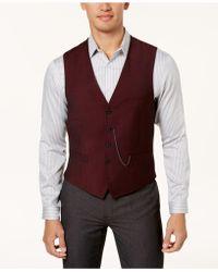 INC International Concepts - Men's Slim-fit Burgundy Vest - Lyst