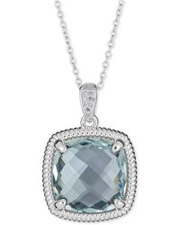 Macy's Blue Topaz (10 Ct. T.w.) & Diamond Accent Necklace In Sterling Silver - Multicolor