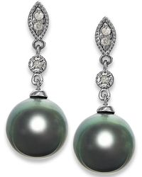 Macy's - Tahitian Pearl (8mm) And Diamond Accent Earrings In 14k White Gold - Lyst