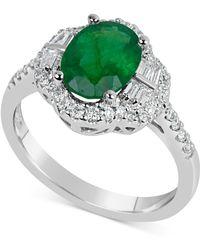 Macy's - Emerald (1-3/4 Ct. T.w.) & Diamond (3/8 Ct. T.w.) Ring In 14k White Gold - Lyst