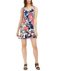 Bar Iii Floral-print Flounce Dress, Created For Macy's - Black