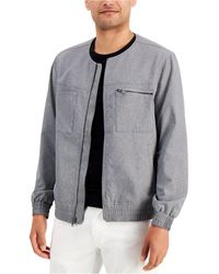 Alfani Collarless Bomber Jacket, Created For Macy's - Grey