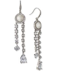 Carolee | Silver-tone Crystal & Imitation Pearl Linear Drop Earrings | Lyst