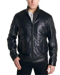 Perry Ellis Leather Moto Jacket - Black