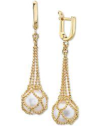 Effy Effy® Cultured Freshwater Pearl (10mm) Drop Earrings In 18k Gold Over Sterling Silver - Metallic