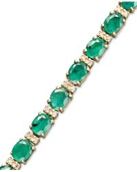 Effy Collection | Emerald (9-1/3 Ct. T.w.) And Diamond (1/4 Ct. T.w.) Tennis Bracelet In 14k Gold | Lyst